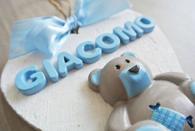 fiocco nascita cuore legno orsetto ceramica azzurro