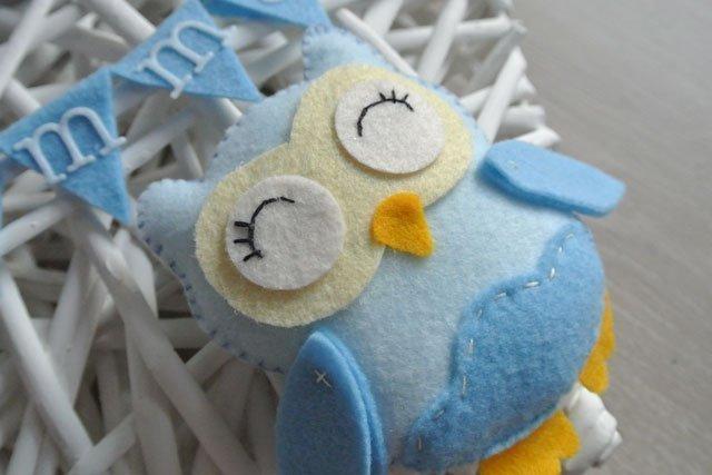 fiocco nascita cuore gufetto azzurro