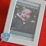 bomboniera battesimo cornice portafoto cuore azzurro