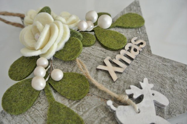 Natale fuoriporta stella legno con renna