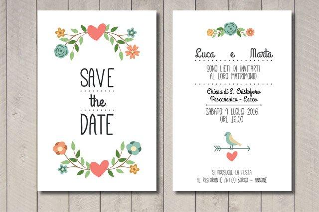 Partecipazione matrimonio fiori