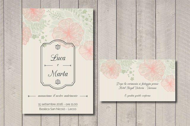 Partecipazione matrimonio floreale