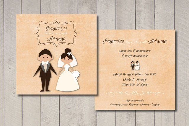 Partecipazione matrimonio coppia sposi
