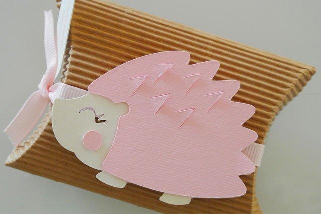 Bomboniera battesimo scatola portaconfetti riccio rosa