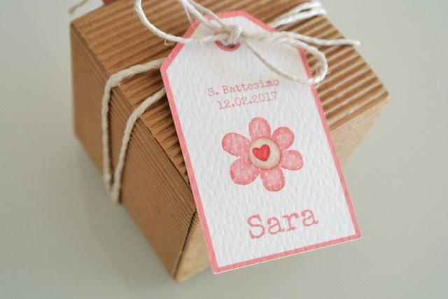 tag bomboniera battesimo fiore cuore rosa