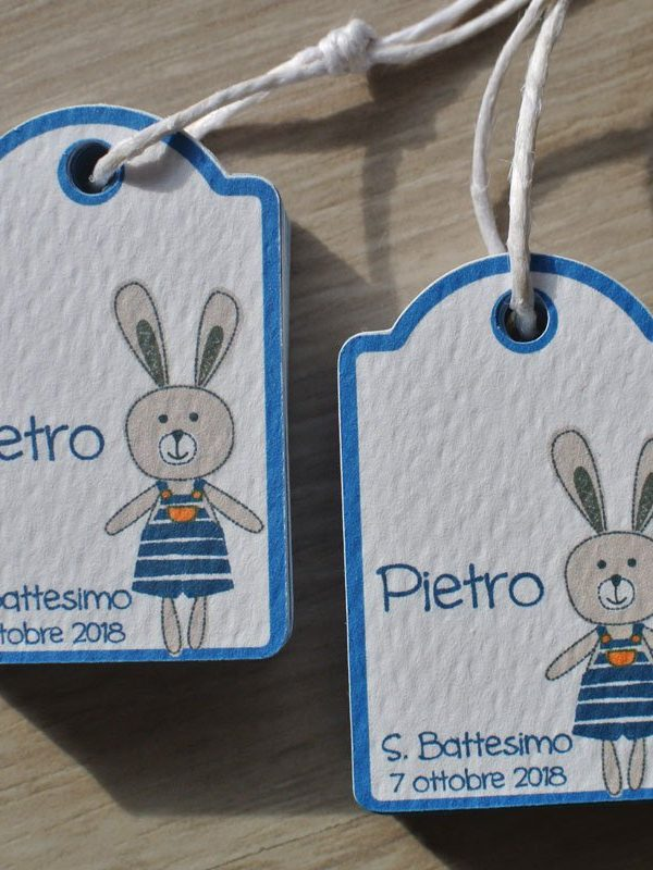 tag personalizzato battesimo nascita coniglietto