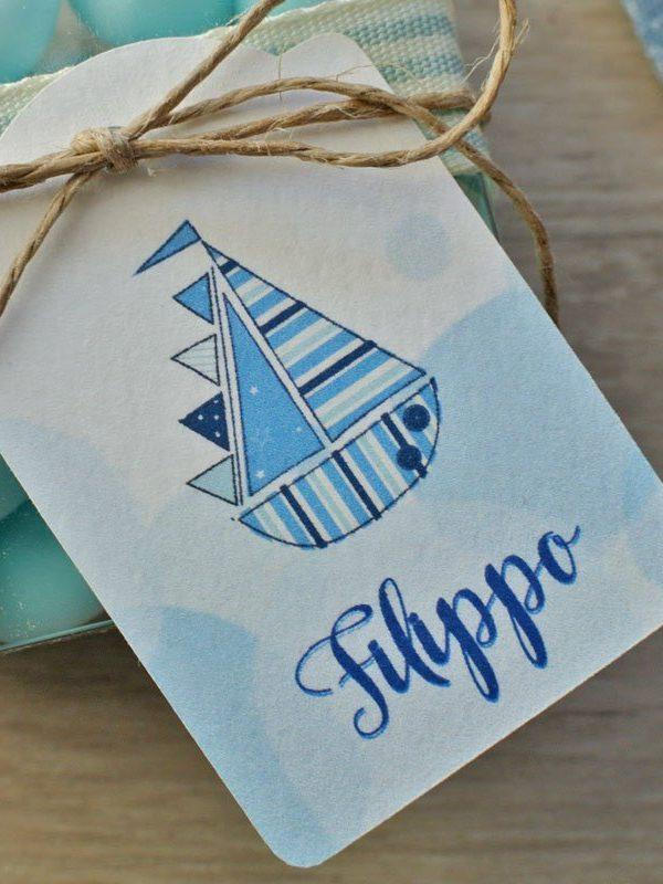 Tag personalizzato nascita barchetta su onde