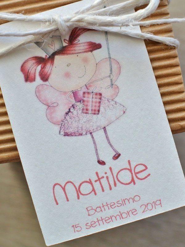 Tag personalizzato nascita battesimo fatina principessa