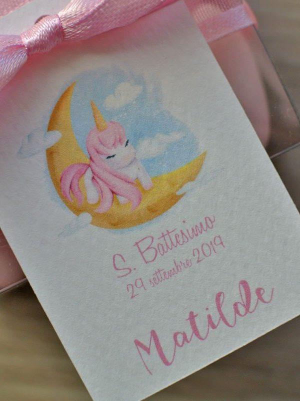 Tag personalizzato nascita battesimo unicorno su luna