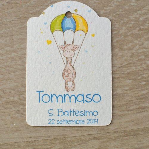 tag personalizzato battesimo nascita giraffa mongolfiera