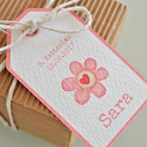 tag nascita battesimo fiore rosa