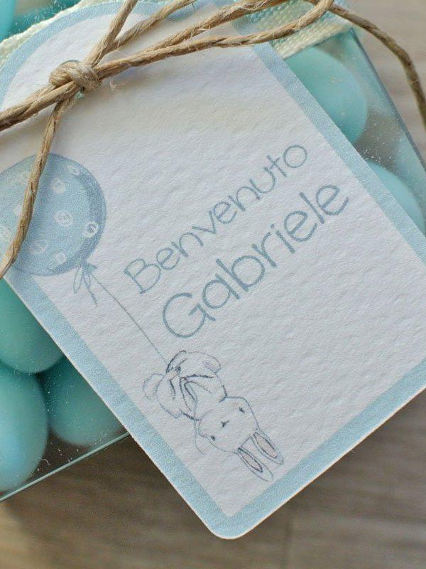 Tag personalizzato nascita battesimo coniglietto palloncino