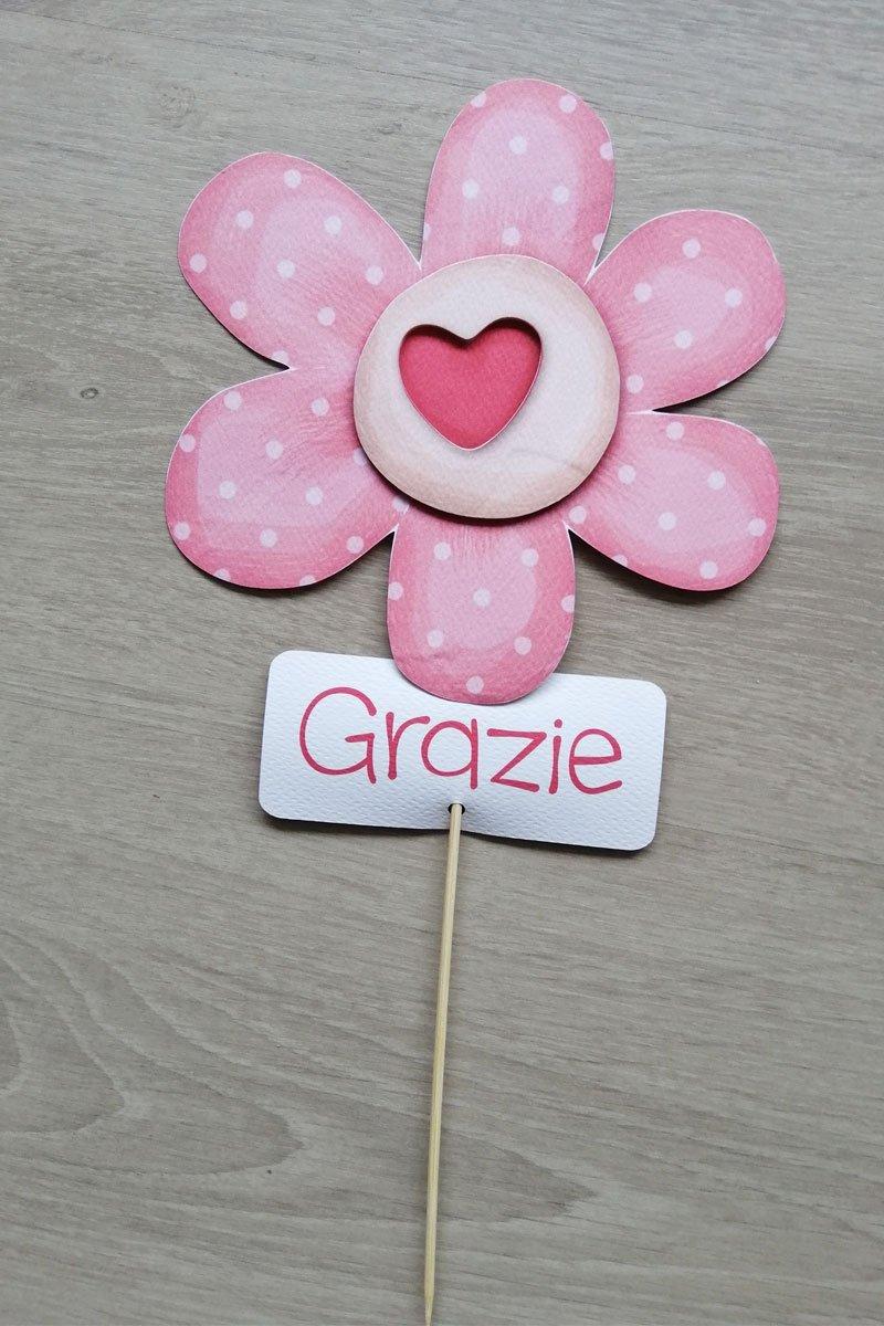decorazione tavolo battesimo fiore rosa