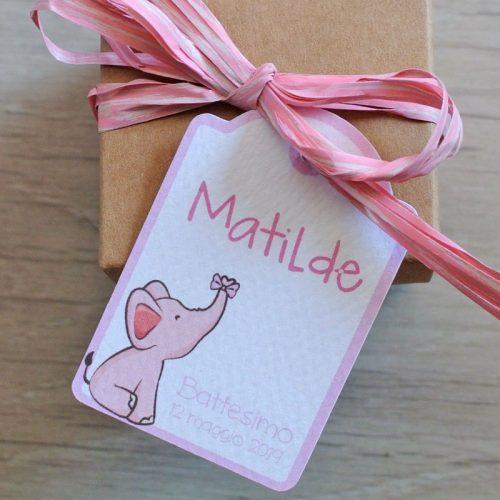 tag personalizzato elefantino rosa
