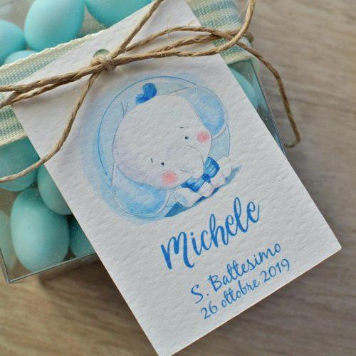 tag personalizzato nascita battesimo elefantino cappello