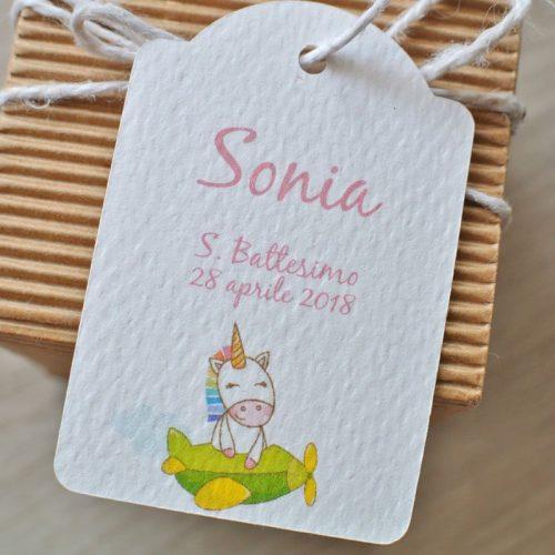 tag personalizzato nascita unicorno