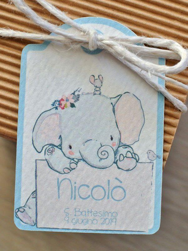 tag personalizzato nascita elefantino cartello