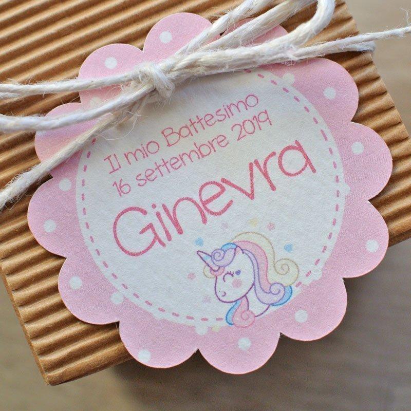 tag personalizzato rotondo unicorno rosa