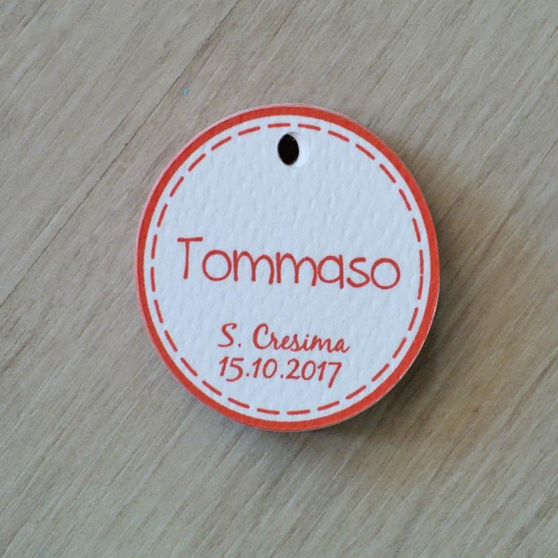tag personalizzato cresima bordo rosso