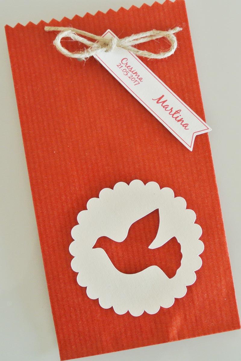bomboniera cresima sacchetto rosso colomba