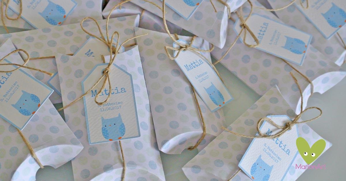 Bomboniera nascita Battesimo scatola cuscino pois azzurro