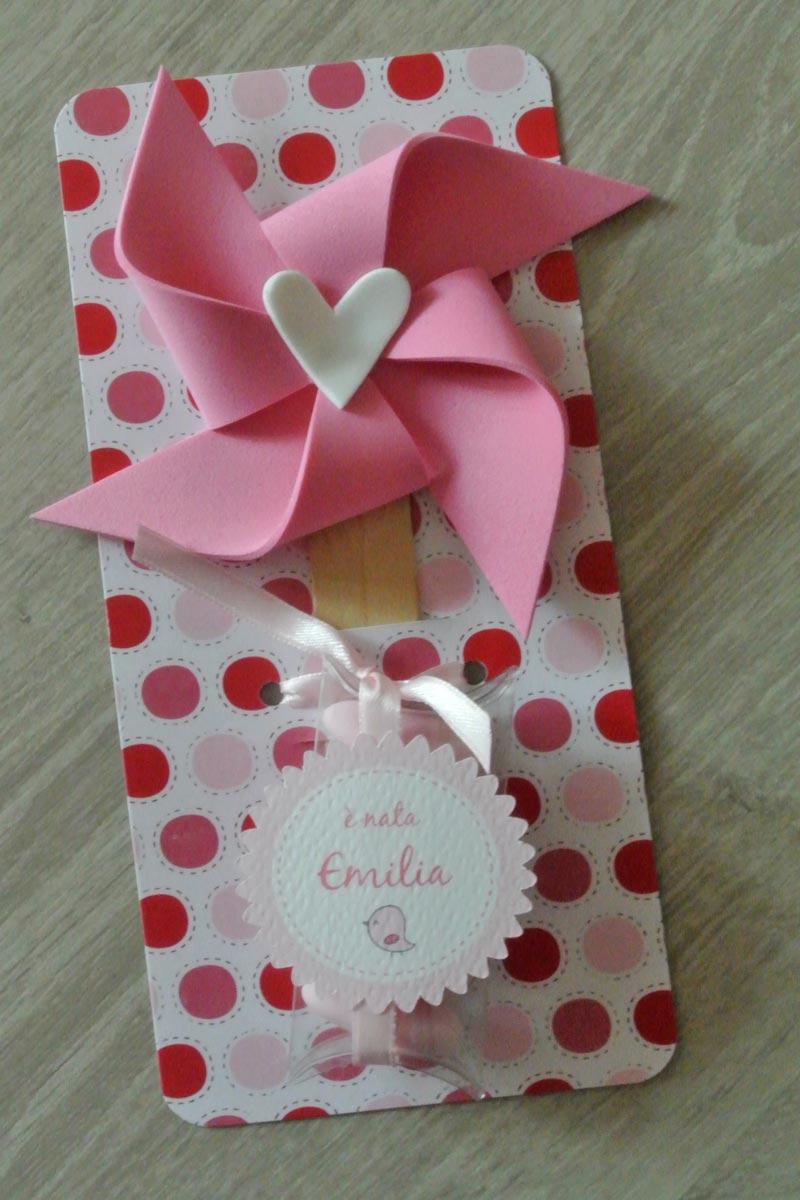 Bomboniera nascita segnalibro girandola rosa