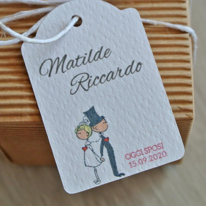Tag biglietto matrimonio sposi cuore
