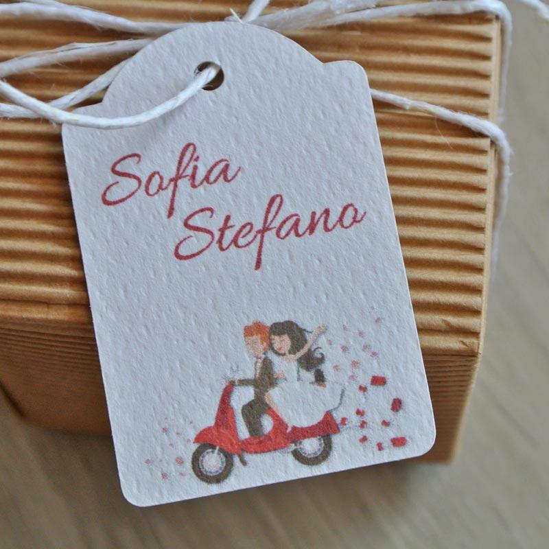 Tag biglietto matrimonio sposi in moto