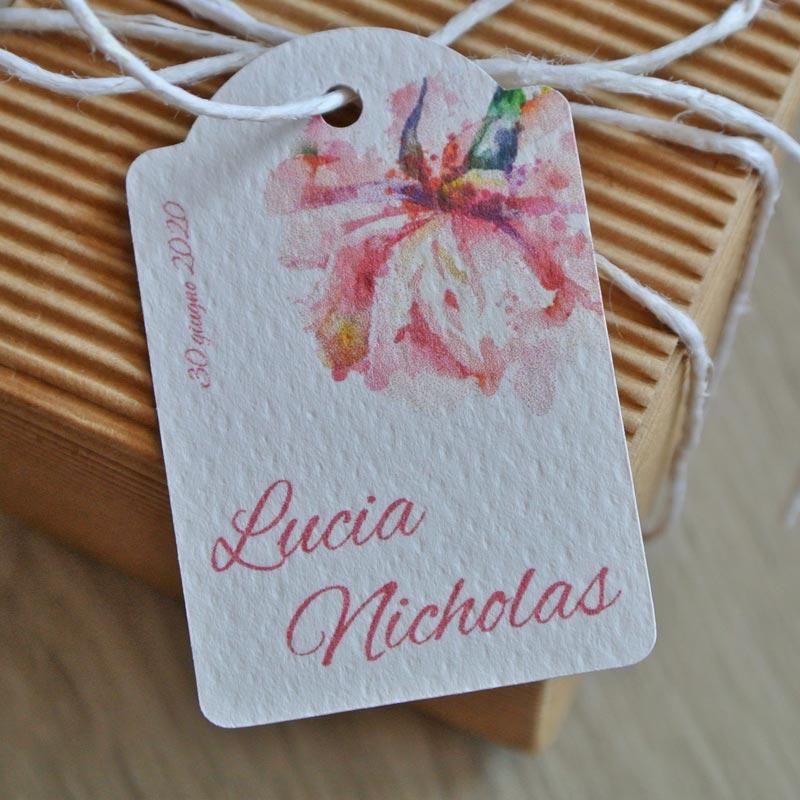 Tag biglietto matrimonio fiore acquerello rosa