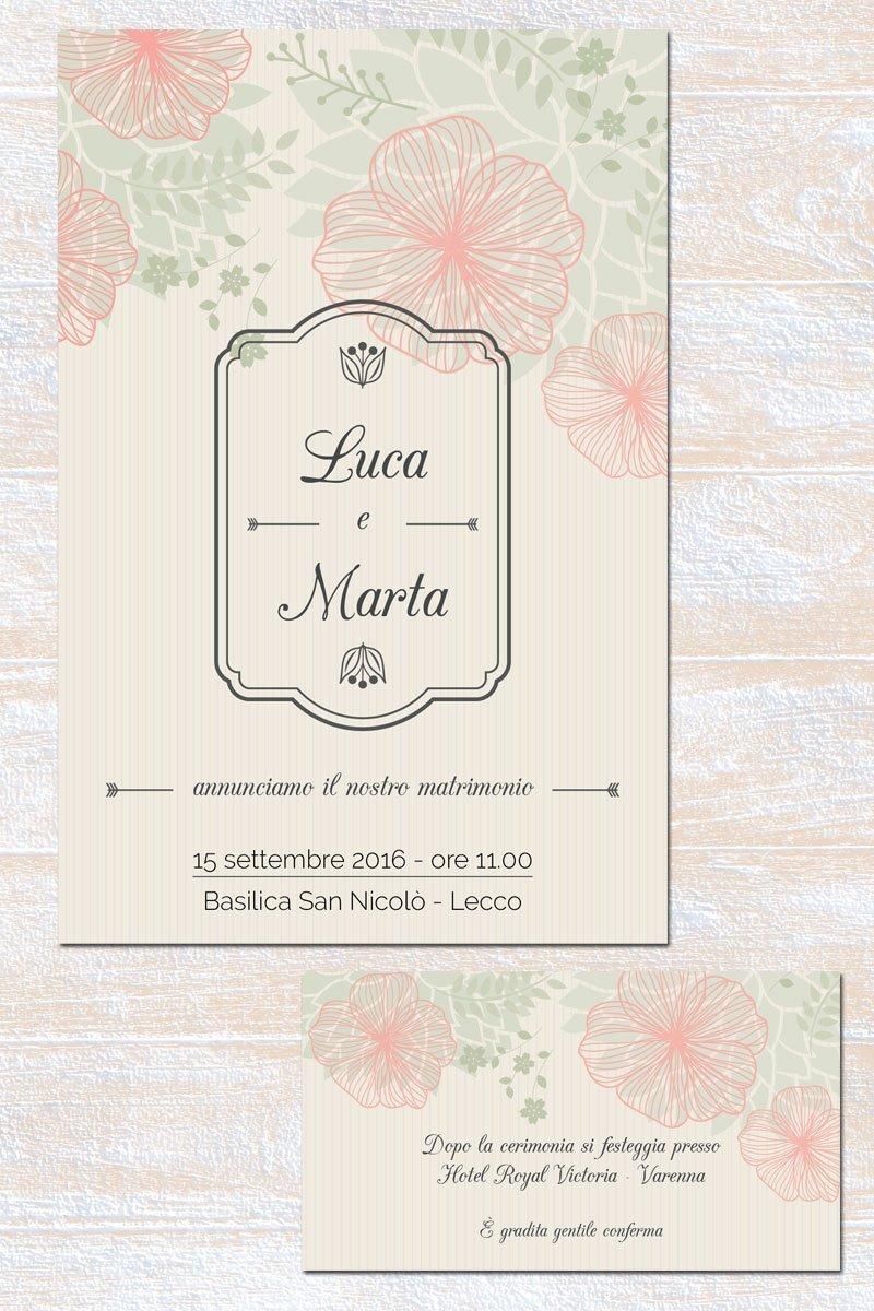 Partecipazione matrimonio floreale stilizzato verde rosa