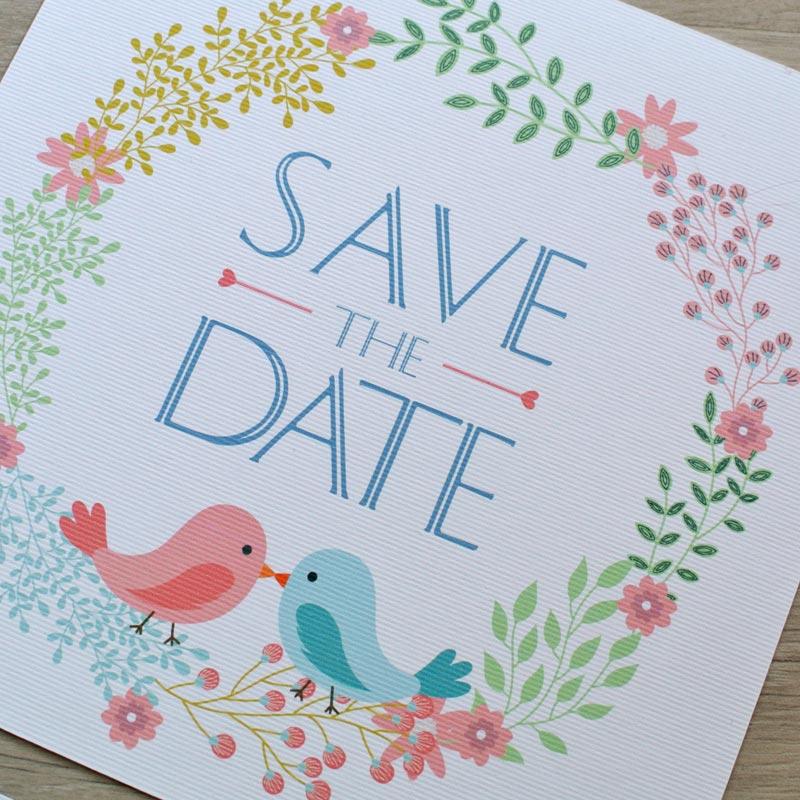 partecipazione matrimonio save the date floreale coppia uccellini