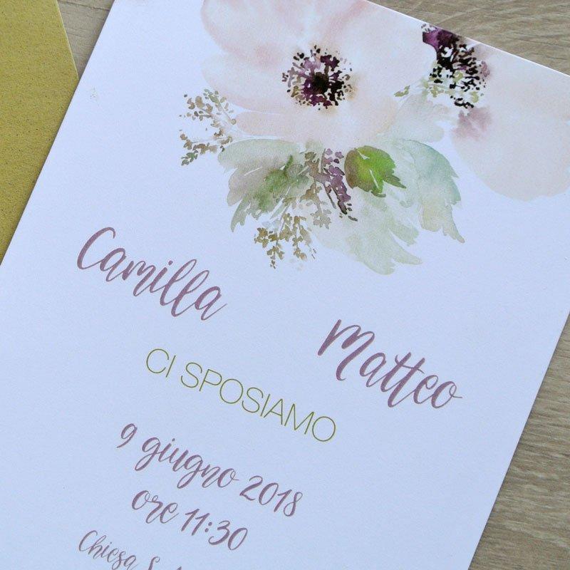 Partecipazione matrimonio floreale rosa