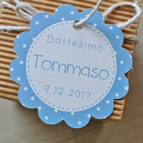 Tag personalizzato nascita Battesimo azzurro pois bianchi