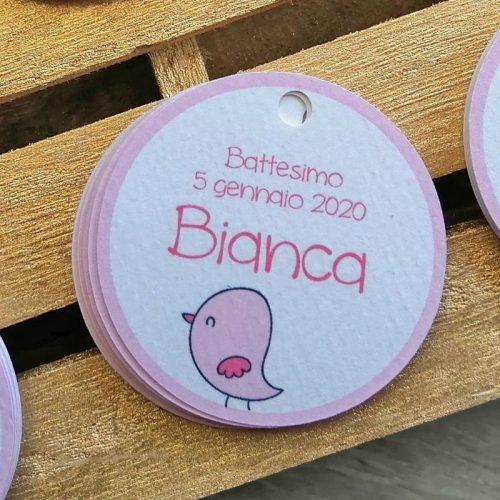 tag personalizzato nascita battesimo uccellino rosa