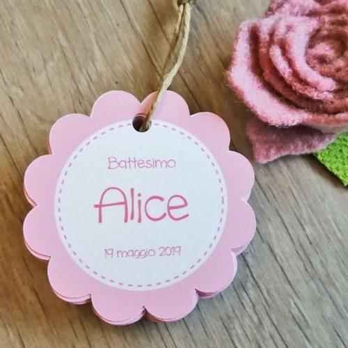 tag biglietto nascita rosa
