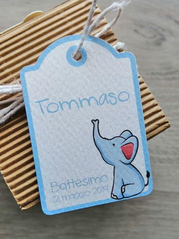 Tag personalizzato nascita battesimo elefantino azzurro