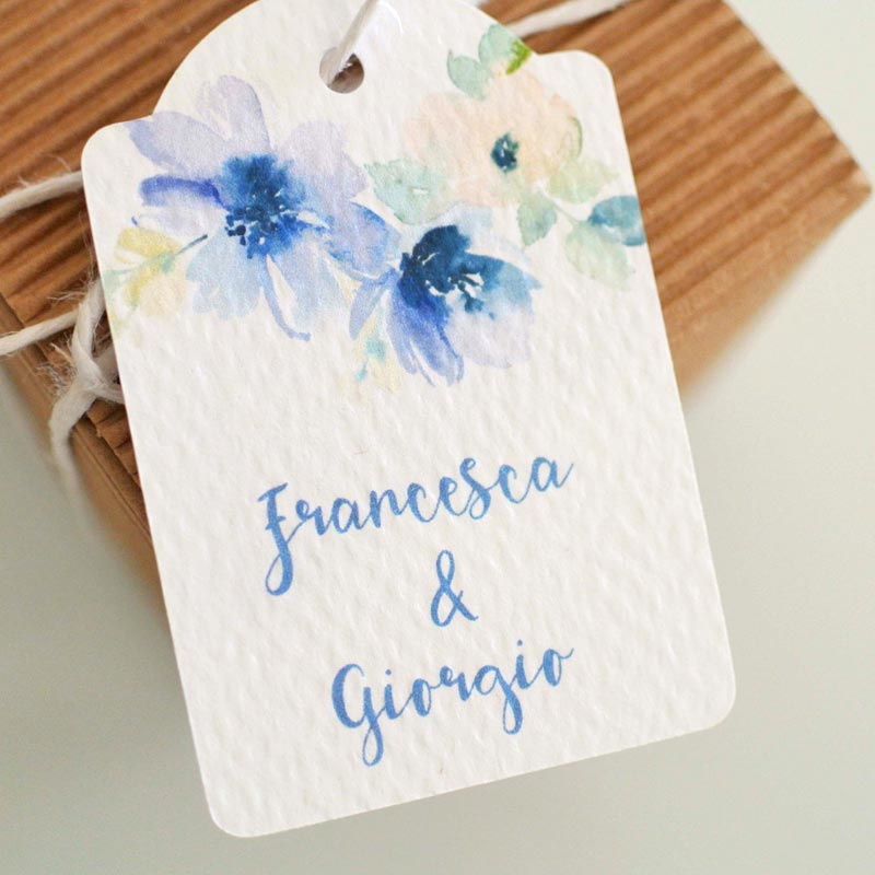 biglietto bomboniera matrimonio fiori color lilla