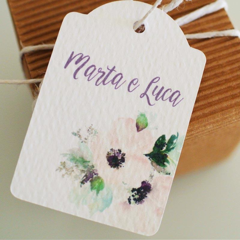 biglietto bomboniera matrimonio fiori rosa