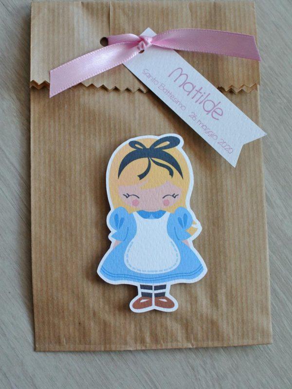 Bomboniera sacchetto carta kraft Alice nel paese delle meraviglie