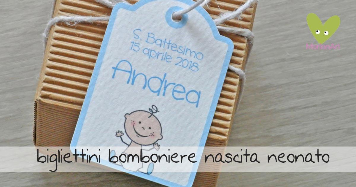 bigliettini bomboniera nascita neonato