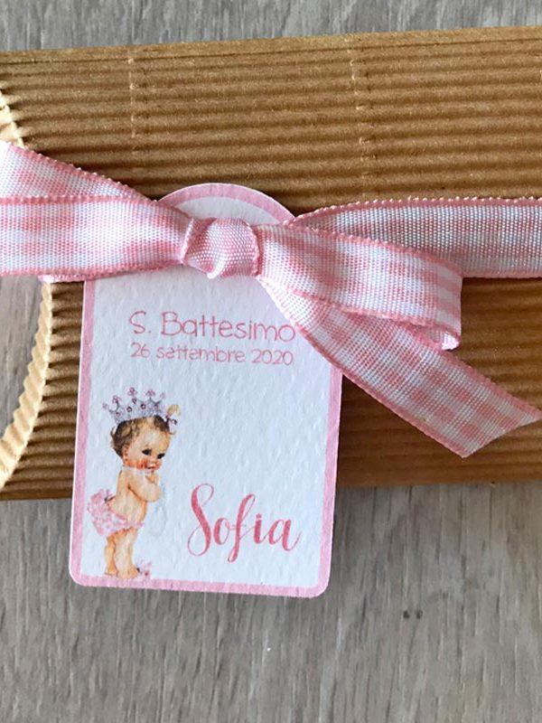 bigliettini bomboniera neonata corona