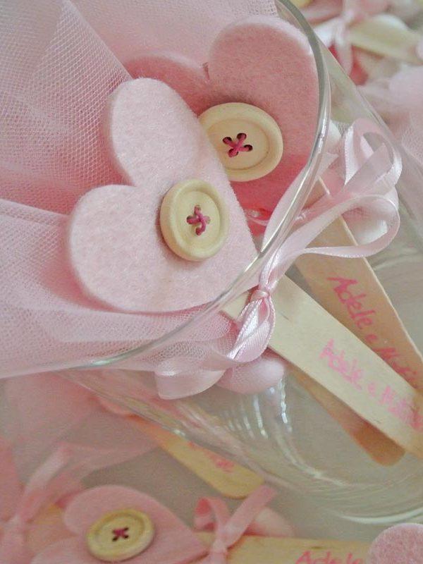 bomboniera segnalibro cuore rosa