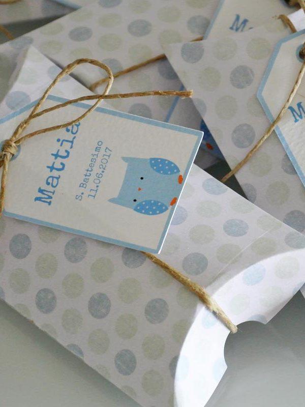 scatoline bomboniere nascita pois azzurri